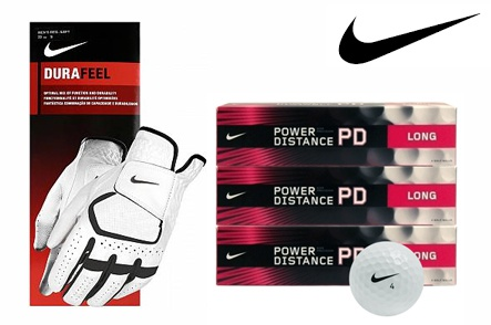 4-Pack of Nike DuraFeel Gloves and One Dozen Nike Power Distance Long Golf Balls